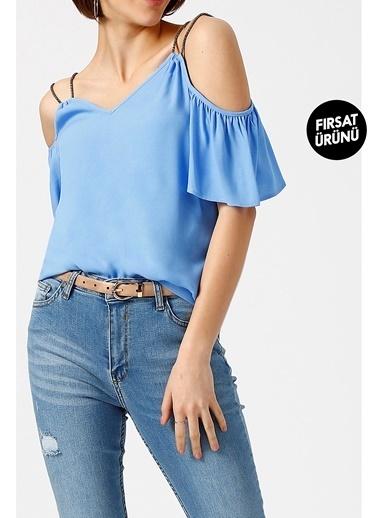 Random Kadın Omuz Dekolteli Balon Kollu Çift Askılı Bluz Mavi